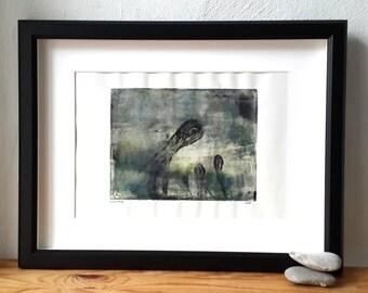 Monoprint, monotype, original artwork, modern abstract art, print art, people talking, family affair, group of people, foggy landscape