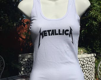 Women's Metallica White Tank Top With Lace Back
