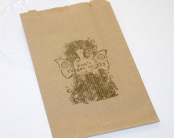 """10 Gift Sets / Bags Kraft Fairy Steampunk """"Do not Forget to fly"""""""