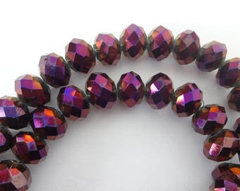 45 pcs Shimmering Fire Polished Metallic Purple Faceted Rondelle Crystal Beads 8mm x 6mm
