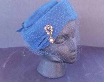 1960s Vintage Blue Pillbox Hat