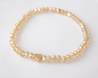 bracelet glitter gold and heart