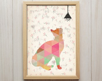 Cat Wall Art, Boho Nursery Decor, Animal Home Decor, Pet Art Poster, Cat Lover Gift, Cat Silhouette Wall Art, Nursery Boho Giclee Print