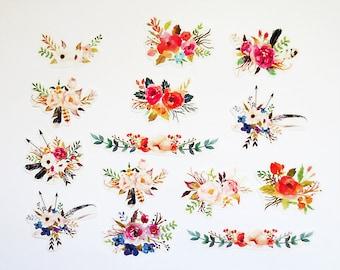 Flower Planner Sticker Pack,  Flower Stickers, Bohemian Scrapbooking Kiss-Cut Sticker Set, Plants, Botanical