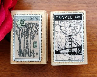 Postage Stamp Rubber Stamps by Hero Arts Luxe Travel Set of 2, Luxe Bamboo, Luxe Travel, Vacation Stamp