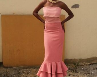 Peach Tube Layered Dress