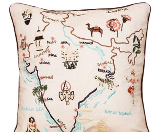 CUSHION EMBROIDERED map of the India