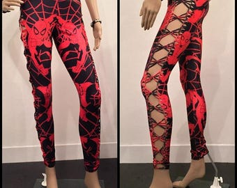Shredded And Braided Spiderman Black and Red Handmade Leggings Slashed Metal Punk Spiderweb