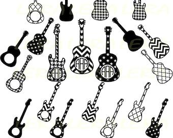 60 % OFF, Guitar SVG, Guitars silhouette, Guitar Monogram Cut File, svg, png, eps, dxf, Guitar Clipart, Cut Files For Cricut, Svg Files