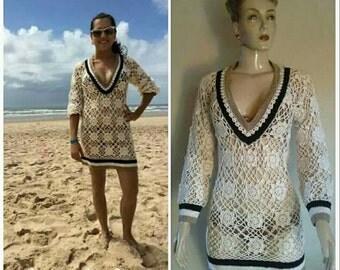 HANDMADE elegant cute CROCHET tunic, beach tunic