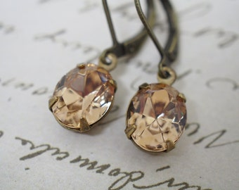 Light Colorado Topaz Swarovski Crystal Rhinestone Vintage Oval Earrings