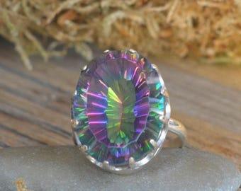 Mystic Quartz Ring. Mystic Topaz Ring. Silver ring with Mystic Quartz.