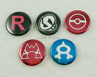 Pokemon Buttons - Rocket, Magma, Aqua, Skull, Poke Ball