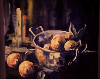 SOLD -  Original oil painting, Still life with Lemons, 2014