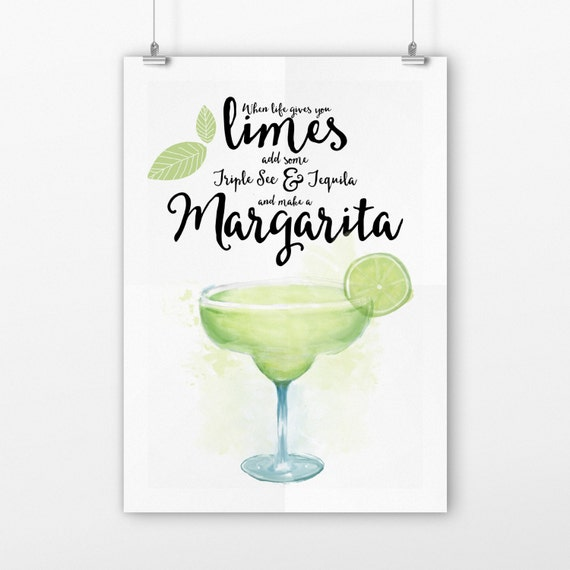 Items similar to Funny Margarita Kitchen Pun Sign, Art Print ...