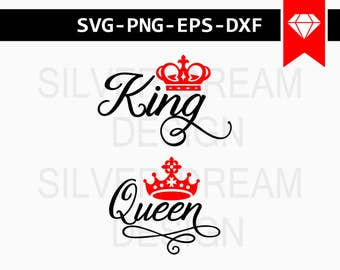 king and queen svg, king queen shirts, svg files, couples cuttable, coffee mug, iron on decals, crown and tiara clipart, instant download