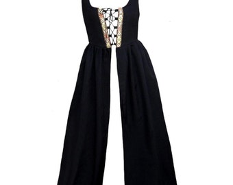Fd1-S Black Medieval Renaissance Clothing Faire Costume Skirt Bodice Pirate Peasant Wench Highlander Irish Over-Dress