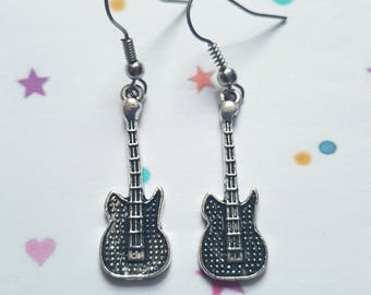 Guitar earrings, Music jewellery, Guitar, Musical, Rocker, Musician, Guitarist, Music, Gig lovers, Gifts for teenagers, Punk jewellery,