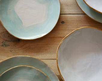 Set green and gold / / wedding / / Wedding / / Gold / / tableware / / Pottery / / Dinnerware