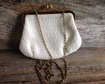 Vintage Kaiho Cream Ruffled/Ruched Evening Bag/Clutch wedding/bridal/bride/party/special occasion