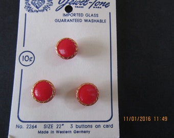 Vintage RED GLASS BUTTONS, Imported Glass