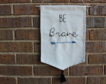 Embroidered canvas banner