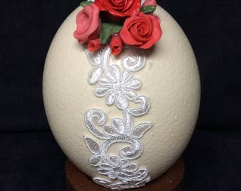 Hand-decorated ostrich eggs