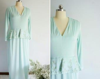 1970s Dan Leslie mint green dress | vintage 1970s maxi dress | vintage mint green gown