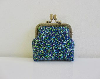 wallet woman BUBBLES MARINES with retro fabric black background with round clasp Blues Greens and purples