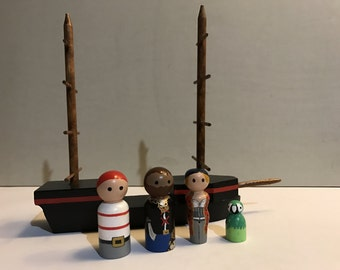 Wooden Pirate Peg People Playset -with Pirate Ship