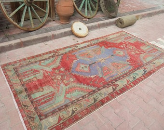 Turkish Rug, Vintage Rug, Faded Colors Furnishings Rug, Unique Hand Woven Rug, Oriental Rug, Anatolian Rug, Area Rug,4'8''x9'4''ft 153x218cm