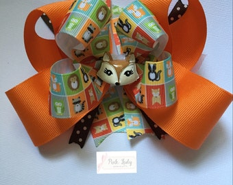 Fox Bow, Woodland Bow, Forest Friends bow, Forest Bow, Fall bow, Fox hair bow, Animal hair bow, Animal hair clip, bows for girls, girl bows