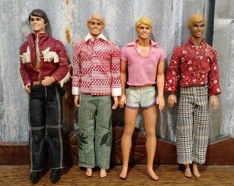 Vintage Retro '60's Blonde and Brunette  MALIBU KEN DOLLs Barbie, Mattel 1968, Vintage Ken Dolls, Retro Ken Dolls