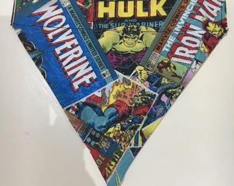 Retro Comic Marvel handmade Dog Bandana - neckerchief - Wolverine, Spiderman, Iron Man, Hulk. Slip through collar - Free postage