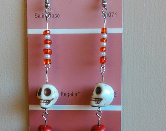 Skull Earrings -- White Skull Earrings with Silver Tone Hook and Red/White Seed Beads
