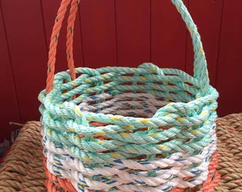 Small Handwoven Rope Baskets with Knot Handle
