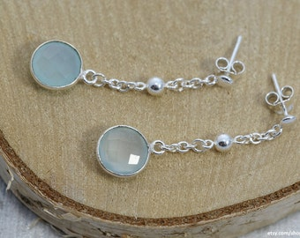 Sibylle | Aqua chalcedony and sterling silver | Dangle earrings with gemstone pendant