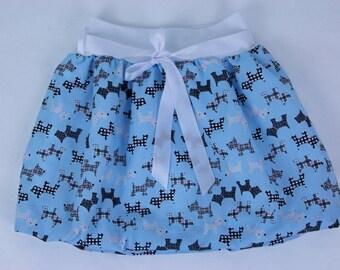 Blue dog print skirt for girls, toddler skirt, girls skirt, summer outfit, customised skirt, elastic waist skirt, girls clothing