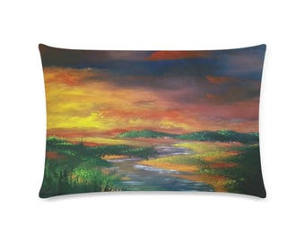 "Rectangle Pillow Case 16""x24"" +3 more sizes -Fire in the Sky-"