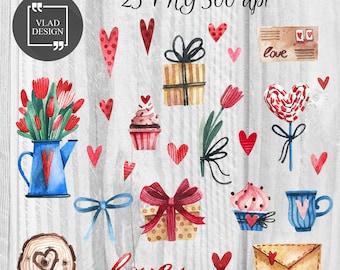 25 Watercolor Love Clipart Romantic Clipart Digital Hearts Elements Cute Love graphics Valentine's clipart Fall in love clipart