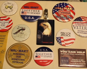 USA ~Patriotic ~Commemorative ~ Memorial ~Veteran ~ PinBack Buttons ~