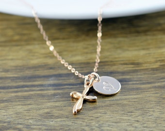 Rose Gold Cross Necklace -Personalized Initial Necklace, Personalized Hand Stamped Necklace, Rose Gold Jewelry, Cross Necklace, Gift for Her