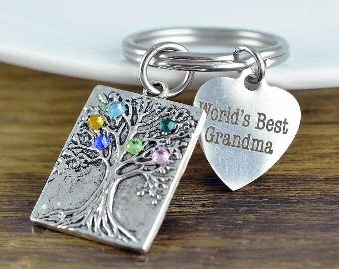 Personalized Grandma Gifts - Gifts for Grandma - Grandma Gift - New Grandmother Gift - Grandma's Keychain - Birthstone Keychain