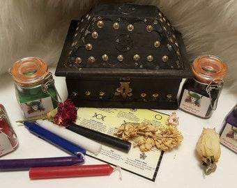 Pagan Altar Kit, Handmade Pentacle Box, Ritual Sand, Spell Candles