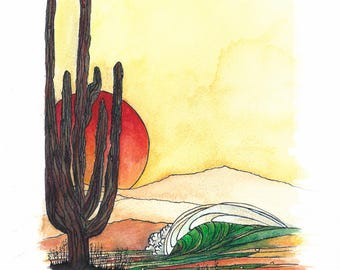 Hand made original water colour painting - Desert Sunset