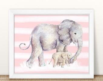 Elephant Nursery art. Pink and gray nursery decor. Pink and gray Elephant nursery print set. Pink and gray nursery. Pink and gray wall art.