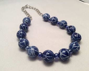 Blue ceramic beads with faceted glass beads necklace