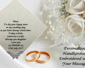 Personalised Women Handkerchief Hankie Wedding Gift Mum Tears Ladies Girl Family ANY MESSAGE