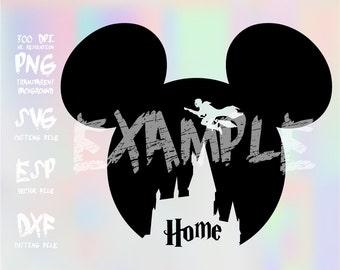 Mickey head Hogwarts castle ,clipart,SVG,PNG 300dpi ,ESP vector