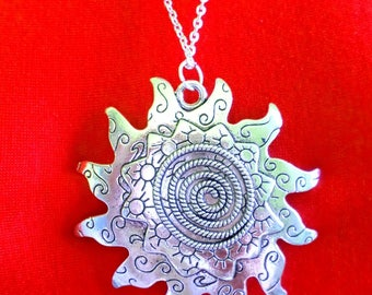 Celtic spiral silver tibetan pendant necklace sun